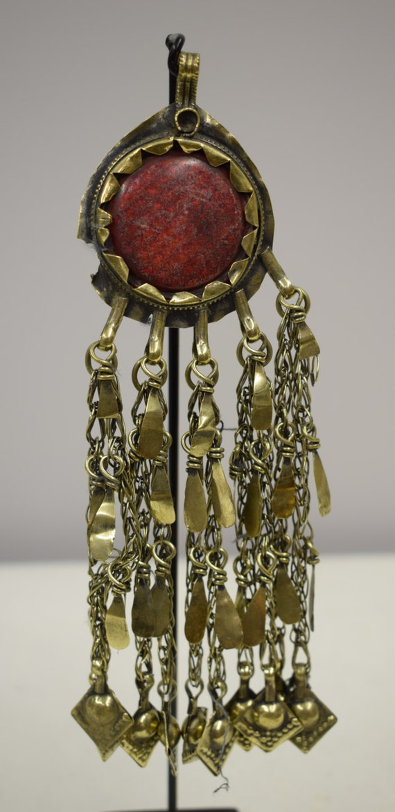 Pendant Middle Eastern Silver Brass Kuchi Red Reflector Light Handmade Jewelry Belly Dancing Unique Kuchi Dangle Pendant