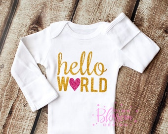 Hello World, Going Home Outfit, Newborn Outfit, Baby Shower Gift, Coming Home Outfit, Baby Onesie, Baby Gift, Baby Girl