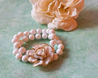 "Trifari Poured Milk Glass Bracelet Double Strand ""Camelia"" Crown Trifari Alfred Philippe 1950s The Wild Vintage Rose"