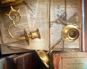 Set of Two Vintage Brass Taper Candle Sconces