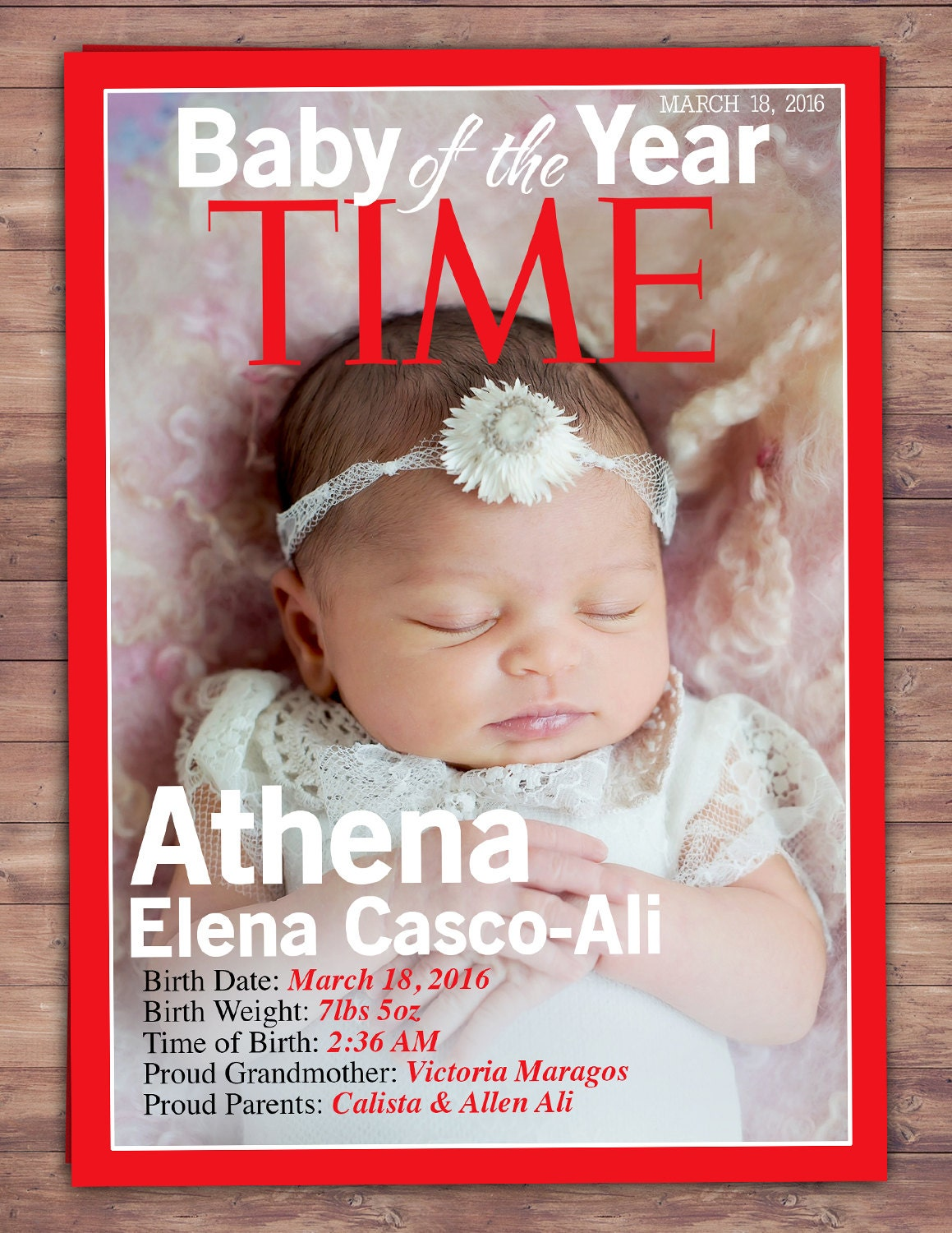 MAGAZINE cover birth announcement baby announcement wedding – Magazine Cover Birthday Invitations