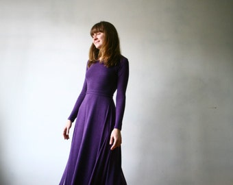 Jersey dress  ,Maxi dress  ,Purple Dress , Long dress,Natural Jersey