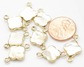 Quatrefoil Mother of Pearl- Shell- Wrapped in Gold Connector. Now 2 sizes! Large and Small!