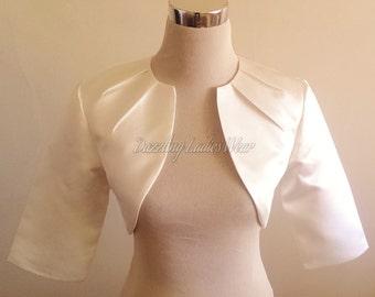 Ivory Satin Bolero Fully Lined - UK 4-26/US 1-22 Shrug/Cropped Jacket/Wrap/Shawl wedding/formal