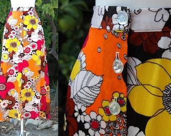 Yellow, Orange, Pink Floral 1970s Maxi Skirt // 70s Flower Child Hippie Skirt