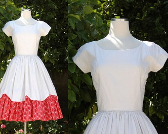 White 1950s Dress with Red Underlayer & Red Bows // 50s Dress with Full Circle Skirt