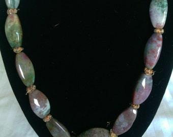 Vintage  Tumbled Stone Beaded Necklace