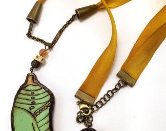 Mint Green Chrysalis Necklace - Handmade & Eco-friendly