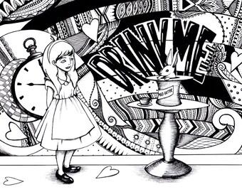 Alice in the Wonderland Themed Print