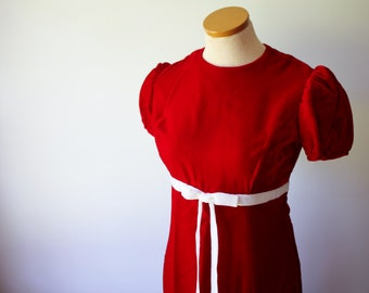 Red Short Sleeve Long dress with White Bow Sash Vintage Handmade