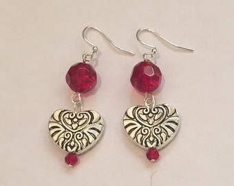 Heart Earrings: Red Beads with Silver tone Heart Charms