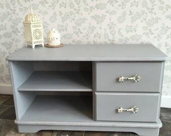 Pretty Pale Grey TV Cabinet~ Shabby Chic