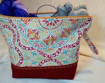 Knitting Project bag, make up & Toiletry bag, tote, craft storage bag, travel bag, accessories cas