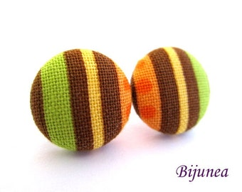 Green Stripes earrings - Green orange stripe stud earrings - Green stripes posts - Stripes studs - Orange stripes post earrings sf1195