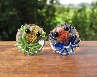 "Custom Pair of Dichroic Poison Tree Frog Plugs 00g 7/16"" 1/2"" 9/16"" 5/8"" 3/4"" 1"" 9.5 mm 10 mm 12 mm 14 mm 16 mm 18 mm 20 mm - 25 mm"