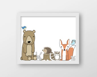 Woodland Animals Art Print - Nursery Art - Children's Wall Art - Forrest Animal Art