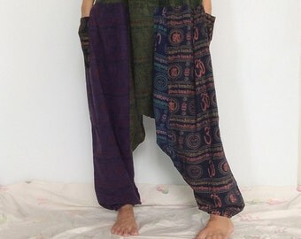 Baggy Yoga pants - % Cotton Organic Harem Buddha pants. Over 40+ Patterns and colors available in 9 sizes.
