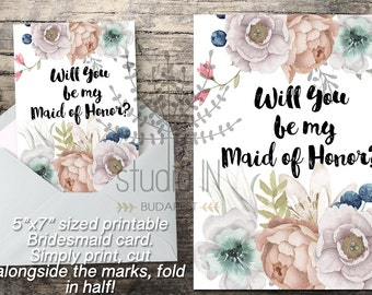 Will You Be My Maid of Honor, Printable Maid of Honor Card, Maid of Honor Proposal Card, DIY wedding printable, Floral Maid of Honor Card