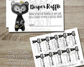 Diaper Raffle Ticket, Printable Diaper Raffle Card, Diaper Raffle Insert, Bear Baby Shower, INSTANT DOWNLOAD