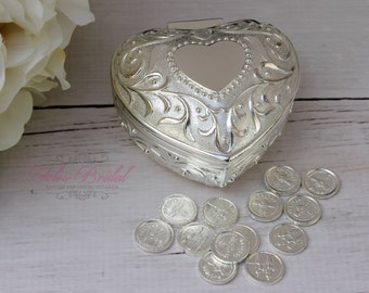 FAST SHIPPING!! Wedding Arras, Arras de Boda, Unity Coins, Treasurer Chest Wedding Arras, Silver Wedding Arras, 13 wedding Unity Coins