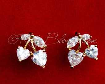 CZ Bridal Earrings, Crystal Gold Cherry Earrings, Bridal Post Earrings, Cubic Zirconia Earrings, Prom, Bridesmaid Earrings, Wedding Gift