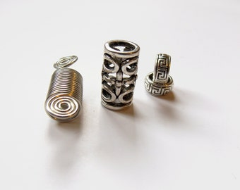 Hair tube, Metal Ddeadlocks beads, Dreadlocks, large hole size hair beads, large cuff coil, Tibetan silver loc jewelry, Hair accessories