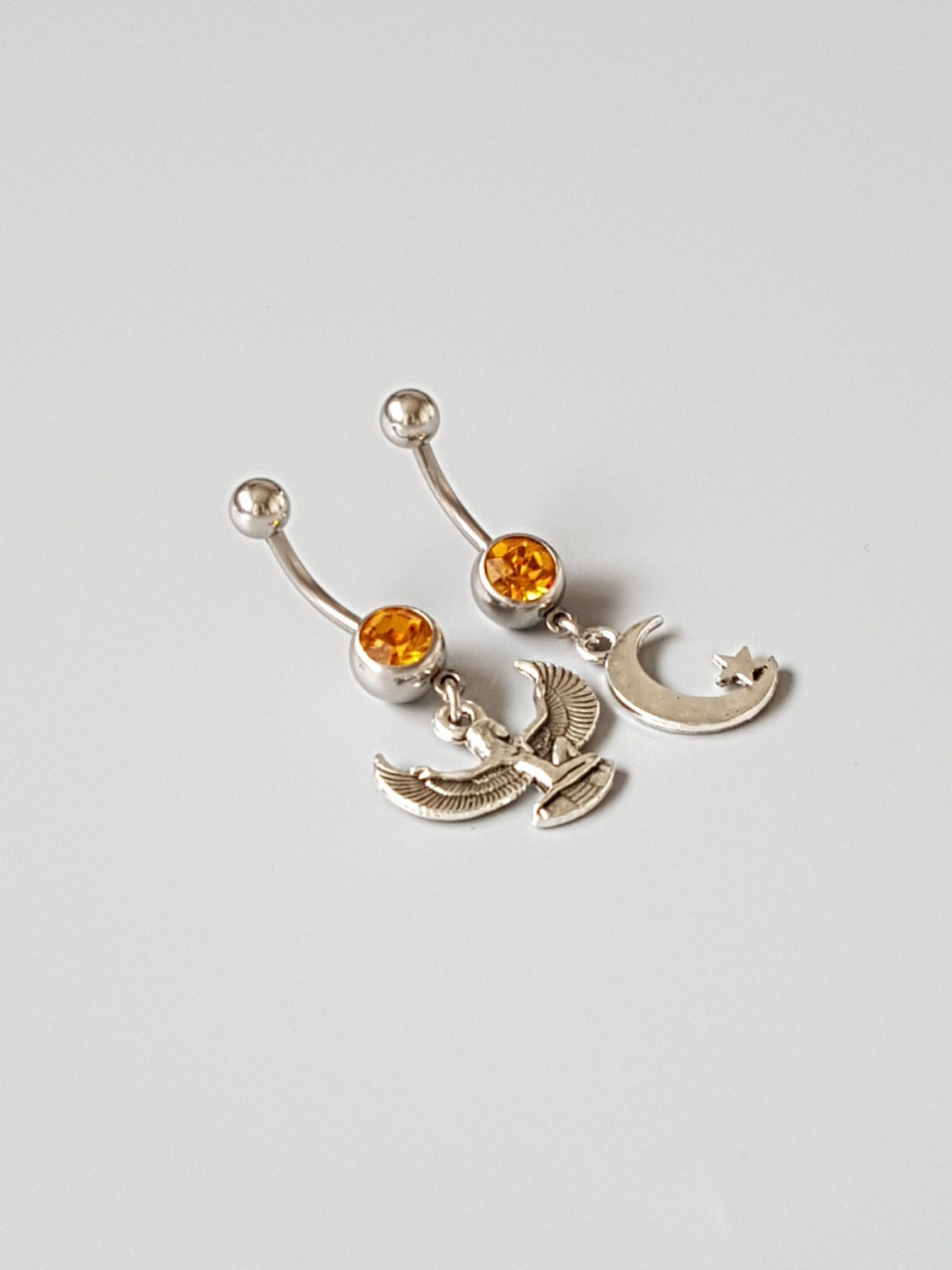 Egyptian belly button ring set Crescent moon belly bar