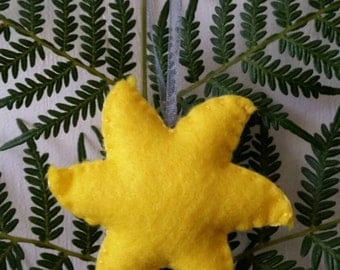 Yellow star felt decoration