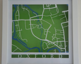 Oxford cut map - White