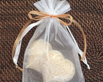 """100 """"Two Hearts Together"""" Wedding Soap Favors  ~ 2 Vegan Heart Soaps in Organza Gift Bags"""