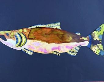 Hand Painted exta  large metal Salmon