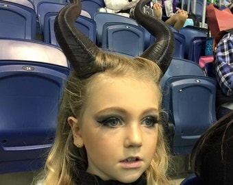 "NEWLY IMPROVED! Young Maleficent Inspired 9.5"" Horns  3D Printed Suitable for kids and adults comic-con"