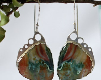 Silver Ocean Jasper Earrings, Nature Earrings, Butterfly Earrings, Orange Green Jasper Earrings J-2063