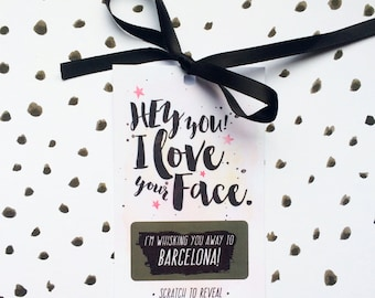 Personalised Girlfriend or Boyfriend Mini Scratch Card - I Love Your Face - Husband - Girlfriend - Wife - Valentine's Day - Birthday