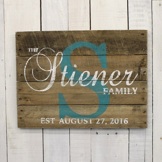 Custom Wood Sign Pallet Last Name Sign by EverydayCreationsJen