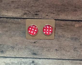 Red Polka Dot Earring Studs