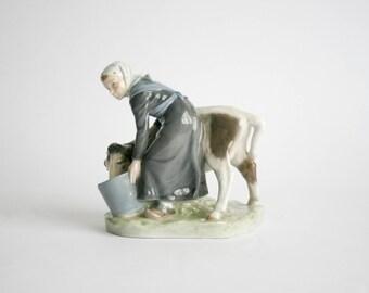 Vintage Royal Copenhagen Porcelain 'Girl with Calf' Porcelain Figural Group - Christian Thomsen #779