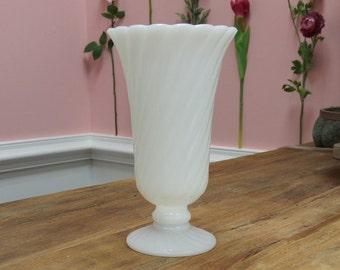 Gorgeous Fluted Vintage Milk Glass Vase!