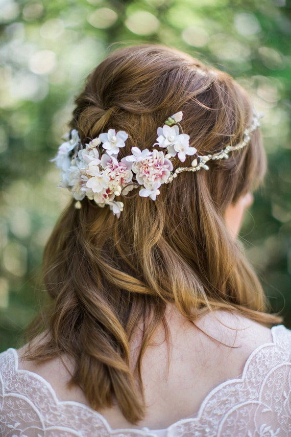 flower hair clip wedding, bridal hair clip, bridal hair comb, floral headpiece, floral hair accessory, ivory flower hair piece, pink flower