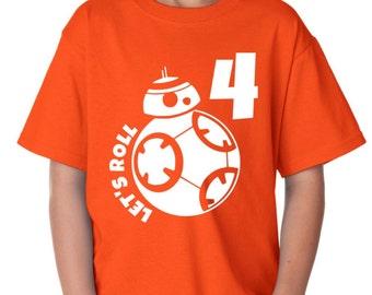 BB8 Birthday Shirt, Star wars shirt, star wars birthday, star wars party, bb8 shirt, bb8 baby