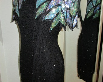 Black Beaded Scala Dress with Blue and Green Sequins, Size PL