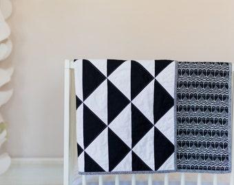 Modern Owl Baby Quilt - Black and White - Gender Neutral - Crib Quilt