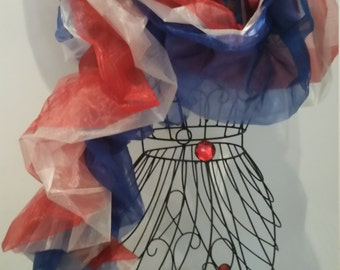 The Patriot: Red, White and Blue Organza Boa