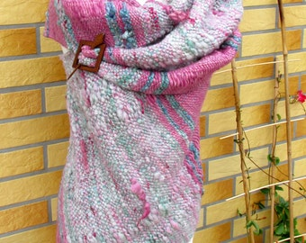 Handwoven shawl Large wool wrap shawl stole Woven outlander Woven art yarn Saori weaving Boho Handspun natural wool wrap Handwoven wool