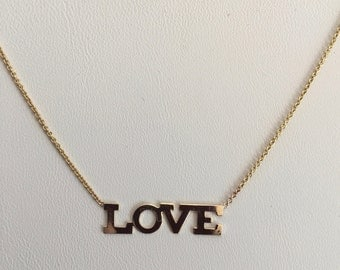 """14k necklace,  LOVE  dainty layering necklace, solid yellow 14k, 16"""" cable chain"""