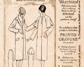 1920s 20s vintage sewing pattern reproduction flapper coat two styles pointed collar or capelet trench coat mackintosh bust 38 b38