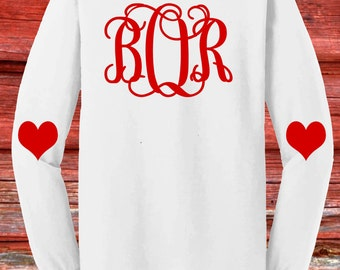 Youth Girls Monogram Valentines Day Shirt- Long Sleeve- Back Monogram, Heart Elbows