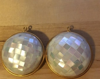 Two Puffy Mother of Pearl Vintage Pendants Destash