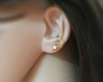 Gold Ear Cuff Earring, Double Wrap Ear Cuff, ear cuff gold, Opal Ear Cuff, ear cuff non pierced, wrap ear cuff silver, cuff earrings opal