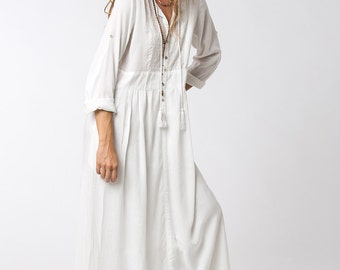 Long Sleeve White Dress, Bohemian Dress, Loose Dress, White Maxi Dress, Long White Dress, Bohemian Chic, Womens Dresses
